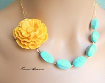 Flower Necklace, Turquoise Necklace, Yellow Flower, Asymmetrical Necklace, Ramadan Eid gift, Birthday gift, Thank you gift, graduation gift