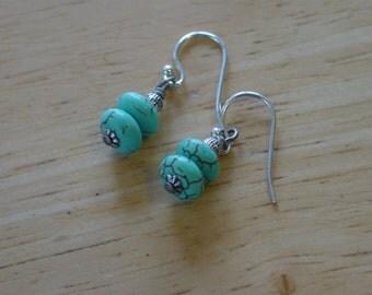 Vintage Style Bead Dangles Turquoise Stone Earrings