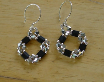 Black Tila and Silver Crystals Earrings