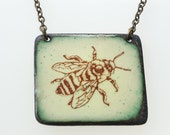 Bee Necklace. Honey Bee on Pastel Yellow Enamel Square Pendant Necklace. Vitreous Enamel Jewelry