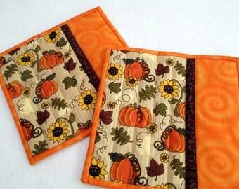 Fall/Autumn Mug Rugs, Quilted Mug Rugs, Snack Mats, Pumpkin Mug Rugs, Reversible, Set of 2, Sunflower Decor