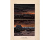 1893 TOTAL SOLAR ECLIPSE print antique celestial astronomy lithograph - darkness during eclipse