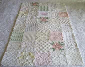 "Personalized Mostly White - Some Pink - Vintage Chenille Baby Quilt - ""So Delicate"""