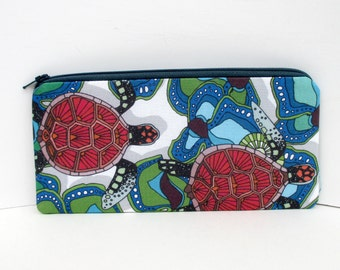 Zippered Pencil Pouch,Red Sea Turtles, Pencil Case