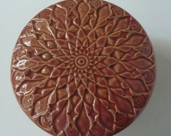 Stoneware  Lidded Jar  Red Pot or  Rose Jewelry Box Ornate Hand  Carved Floral  Design