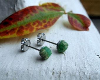 The Twilight Meadow Emerald Earrings. Genuine Emerald Raw Rough Specimens & titanium post earrings. Ear studs. simple delicate romantic