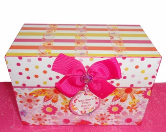 Recipe Box Little Girl's First Recipe Box Personalized Hot Pink Orange Yellow Ready to Ship