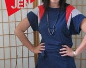Winter Sale 15% Off!!! shoulder DRESS  in blue