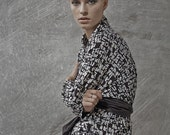 Winter Sale 15% Off!!! Japanese inspirited black white print multiway to wear top with camel leather pin