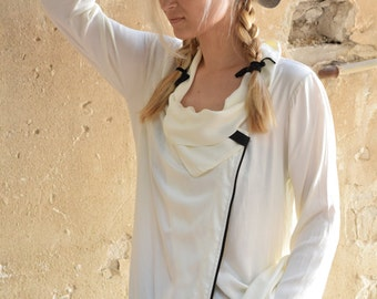 Extra long blouse, tunic, ivory white soft viscous blouse, black leather pin