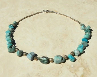 Howlite Turquoise Stone and Silver Necklace With Lobster Claw Closure