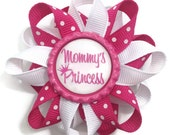 """Mommy's Princess 3"""" Hair Bow - 3 inch Pink, White Hair Bow - Hair Bow Barrette - French Clip - Made To Order"""