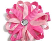 "Light Pink & Hot Pink 2"" Hair Bows - Handmade - No Slip Alligator Clip or French Barrette - Made To Order"