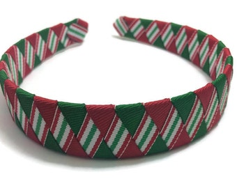 Christmas Stripe Woven Headband, Christmas Braided Headband, Red Green Stripe Headband, Handmade Headband, Ribbon Woven Headband