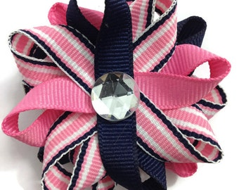 Navy Blue & Hot Pink Stripe Hair Bows, Handmade Hair Bows, No Slip Hair Bows, Hair Accessories, Girls Accessories, Gifts for Her