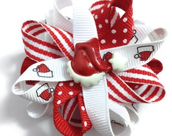 """Red & White Christmas, Santa Hat 2.5"""" Hair Bows - Handmade - No Slip Clip or Barrette - Made To Order"""