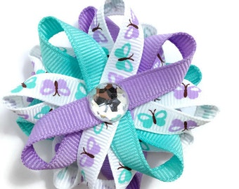 "Lavender, Aqua, White Butterfly 2.5"" Hair Bows - Handmade - No Slip Clip or Barrette"