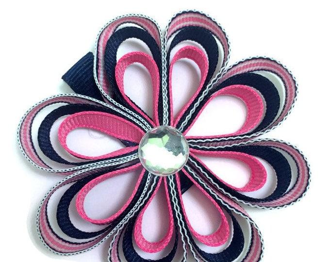 Navy Blue & Hot Pink Hair Flower