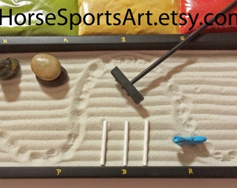 "Top Seller, Dressage Mini Zen Garden!  Includes Lettered Arena-Stone Horse, Handcrafted Wood Rake, Stones, 3 Cavalettis,""Footing"""