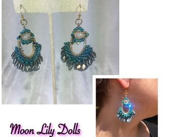 Bead Earrings - Turquoise Blue-Green Crystal Dangle