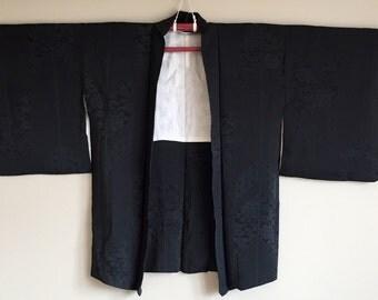 1950s Black HAORI KIMONO Jacket BOHO