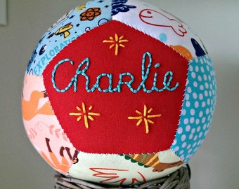 Unique handsewn customised patchwork hand embroidered baby boy christening baby ball gift with toy rattle