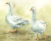 Geese Painting -  4 x 6 inches Original Watercolor