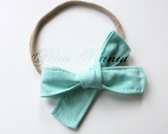 Petite Peanut Bitty Bow Headband - Aqua - Baby Girl Toddler - (Made to Order) -Spring Summer