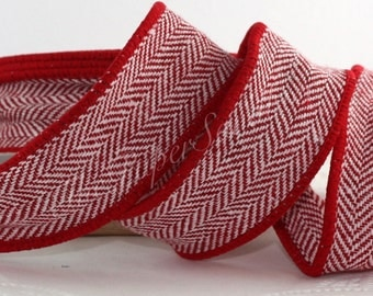 "Red Herringbone Ribbon, Wired Red Ribbon, Red Herringbone Ribbon, 1.5"" w by the yard, Gift Wrapping, Wreaths, Christmas Ribbon, Masculine"