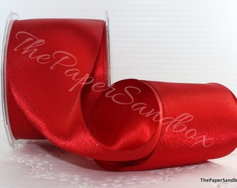 """Wired Ribbon, Wired Red Satin Ribbon, 2.5"""" wide by the yard, Wide Satin Ribbon, Christmas Ribbon, Gift Wrapping, Party Supplies, Wreaths"""