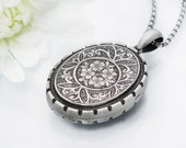 1880 Victorian Locket | Antique Locket Sterling Silver Forget-Me-Nots | English Hallmarks Large Oval Locket - 34 Inch Long Chain Included