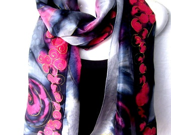 "Hand Painted Silk Scarf, Red Black Silver Gray, Abstract Swirls, Silk Scarf, 71"" x 18"", Gift For Her"