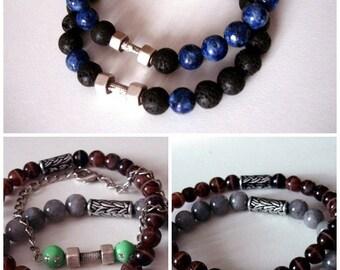 Dumbbell men bracelet His and Her Bracelet beaded bracelet Mens Bracelet Lava Bracelet Boyfriend Gift For Him