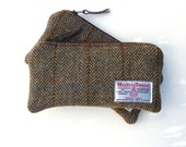HARRIS TWEED Pencil Case in Taransay brown and green herringbone, classic design, traditional wool pouch