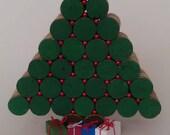 Cork Christmas Tree - red bead- table decor - Winter- natural cork
