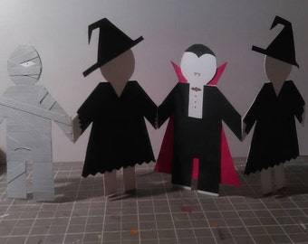 Halloween Party Guests paper dolls Dracula Witch Mummy Table Decor