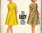 1960's Butterick Sewing Pattern No. 4722 - Tent Dress , Maternity Dress , A-Line Dress with Side Inverted Pleats  Bust 38