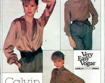"""1980's Vogue 2063  - Loose Fitting Blouses by American Designer Calvin Klein , Wrap Blouse Bust 30 1/2"""""""