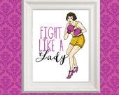Wall Art Print, Breast Cancer Art, Boxer Art Print, Fight Art