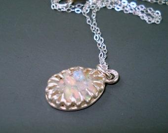 Opal Pendant Necklace, Fire Opal Pendant, Mosaic Fire Opal Pendant,  Fire Opal Pendant Necklace
