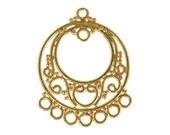 One Pair Bali 24kt Gold Vermeil Chandelier Findings (2 pieces), 28mm x 22mm, Earringst, Artisan-made