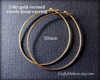 Take 15% off with 15OFF20, TWO Pairs Bali 24kt Gold Vermeil Creole Hoop Earrings, 30mm Diameter, 4 pieces, 20 gauge wire