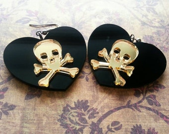 Skull and crossbones earrings, heart earrings, gold and black jewelry, skull earrings
