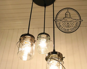 Mason Jar CHANDELIER Light Vintage Pints