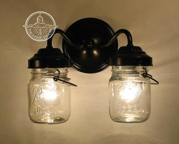 Unique Replacement Globes For Bathroom Light Fixtures: Vintage CLEAR Canning Jar DOUBLE Sconce Wall Sconce Flush