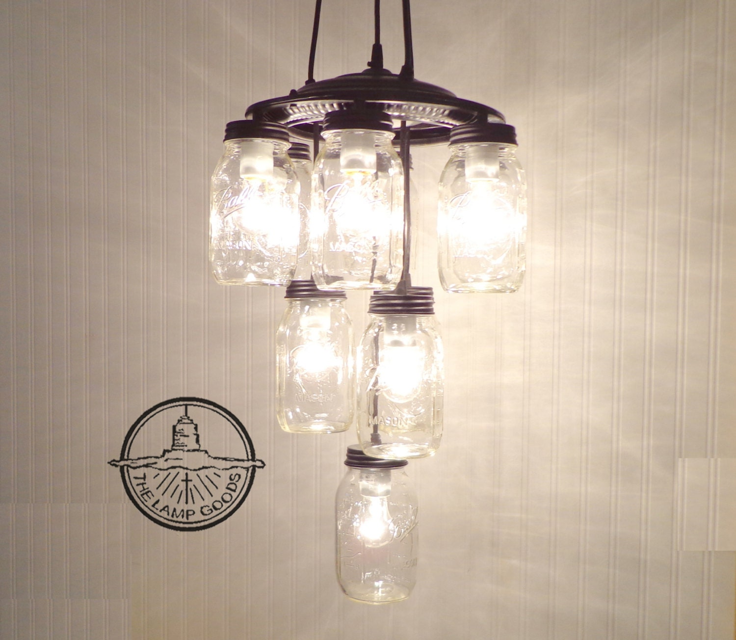 Mason Jar CHANDELIER 10 Lite Large LAST TWO Available By