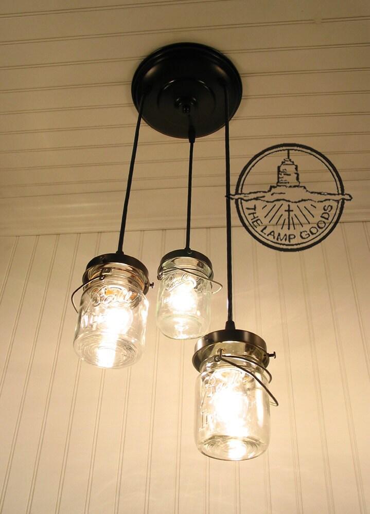 Mason Jar Chandelier Light Vintage Pints Lighting Ceiling