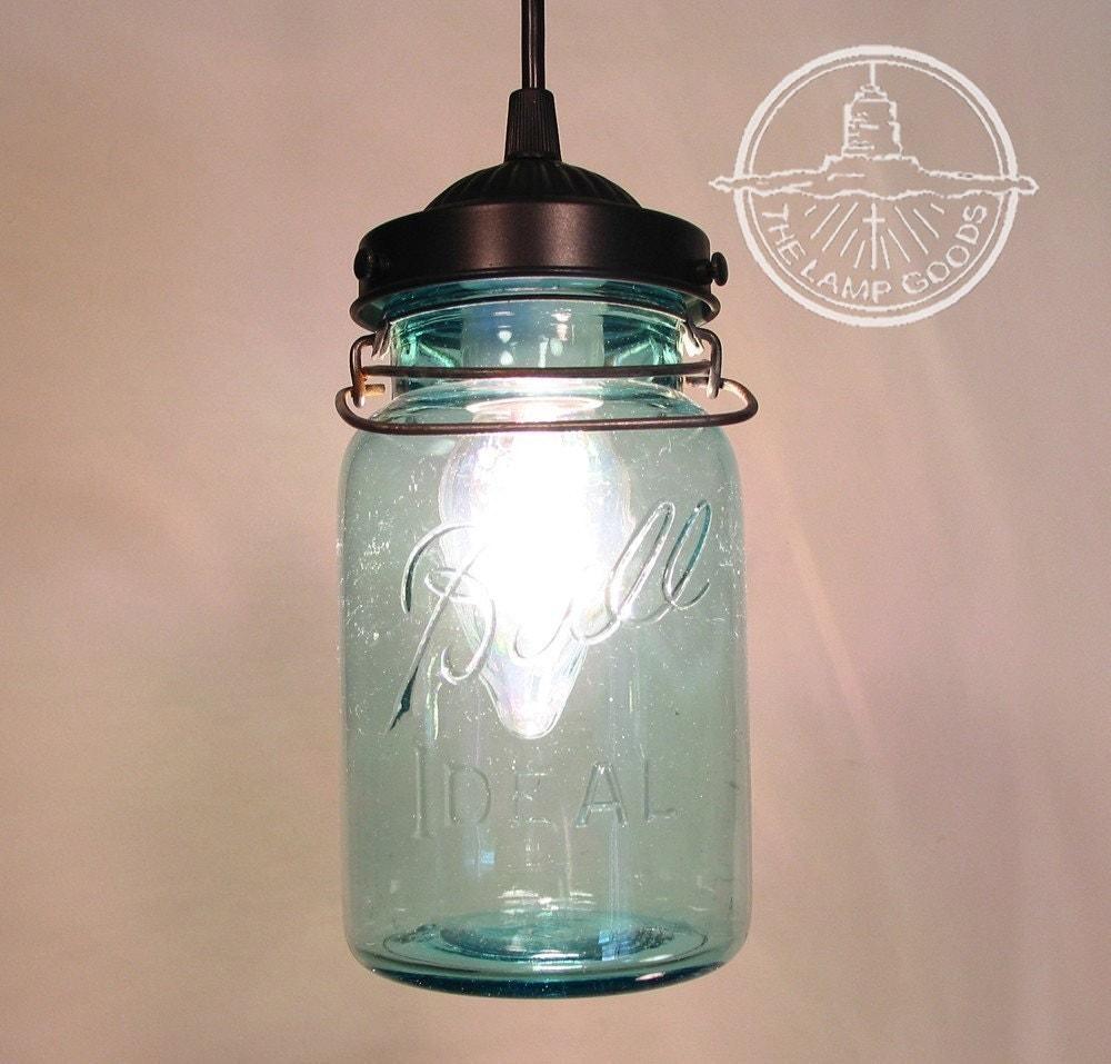 blue mason jar pendant light vintage quart by lampgoods on. Black Bedroom Furniture Sets. Home Design Ideas