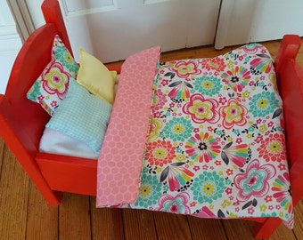 18 in Doll Bedding, 4 Pc Doll Comforter Set, Pink and Green Floral,  Reversible, Fashion Doll Bed, 18 in doll, Toys, Dolls