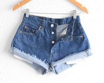 Levis 501 Shorts Levi High Waisted Denim Shorts Levis Shorts Vintage Levi High Waisted Jean Shorts Hight Waist Shorts Denim Cutoffs waist 27